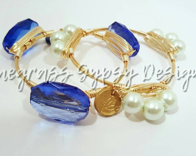 20% off University of Kentucky, blue Wire Wrapped Bangle, UK Bracelet, Bourbon and Boweties Inspired