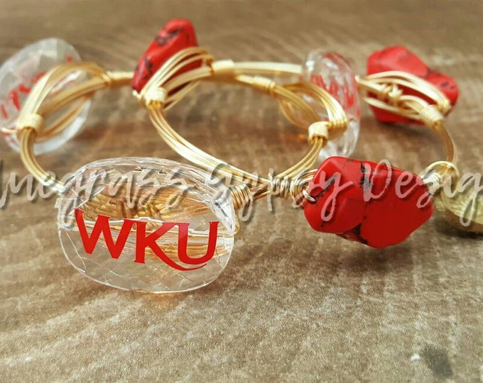 20% off Western Kentucky University Wire Wrapped Bangle set, Bracelet, Bourbon and Boweties Inspired