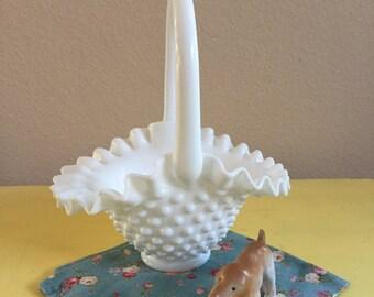 Hobnail Milk Glass Basket
