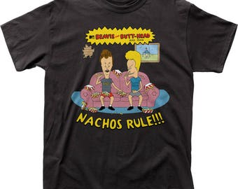 Beavis & Butthead Nachos Rule Traditional Fit 18/1 Cotton Tee (BEV04) Black