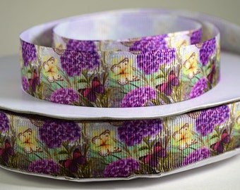 "7/8"" Purple Hydrangea and Butterfly Printed Grosgrain Ribbon"