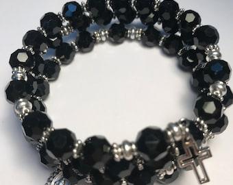 Rosary Bracelet Wrap,Black Rosary Bracelet