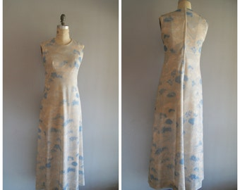 Vintage 60s Polyester Dreamy Illustrated Empire Waist Maxi Dress