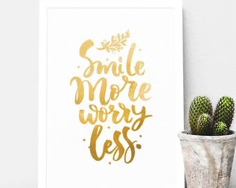 Smile More Worry Less // Framed Inspirational Quote // Hamilton // Happy Quote // Optimistic Quote // Foil // Gold // Watercolour Colour