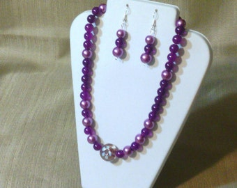 279 Vintage Style Large Violet Glass Pearls and Purple Jade Style Glass Beads Beaded Choker