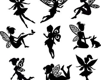 Fairy Die Cut  Out Silhouette - Assorted Fairy Cutout x 20. Great for card making, scrapbooking, fairy jar, embellishments, party favours