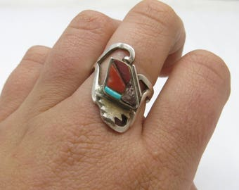 Signed Vintage Southwestern Sterling Silver Turquoise, Red Coral & Spiny Coral Abstract Ring Size 8.25