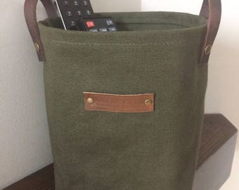 waxed canvas storage planter basket bin medium