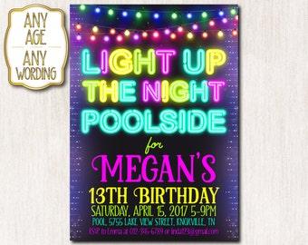Pool party invitation, Neon birthday party, 13th Neon birthday invitation, Neon String lights, Teen birthday invitation, ANY AGE - 1599