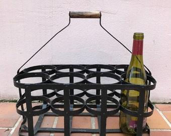ANTIQUE VINTAGE FRENCH Handmade Metal zinc 8 Bottle Wine Carrier Basket 18