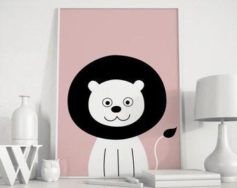 Lion print, lion wall art, lions poster, lion kids art, lion kids poster, Animals Nursery, Peekaboo animal, kids room, nursery art,