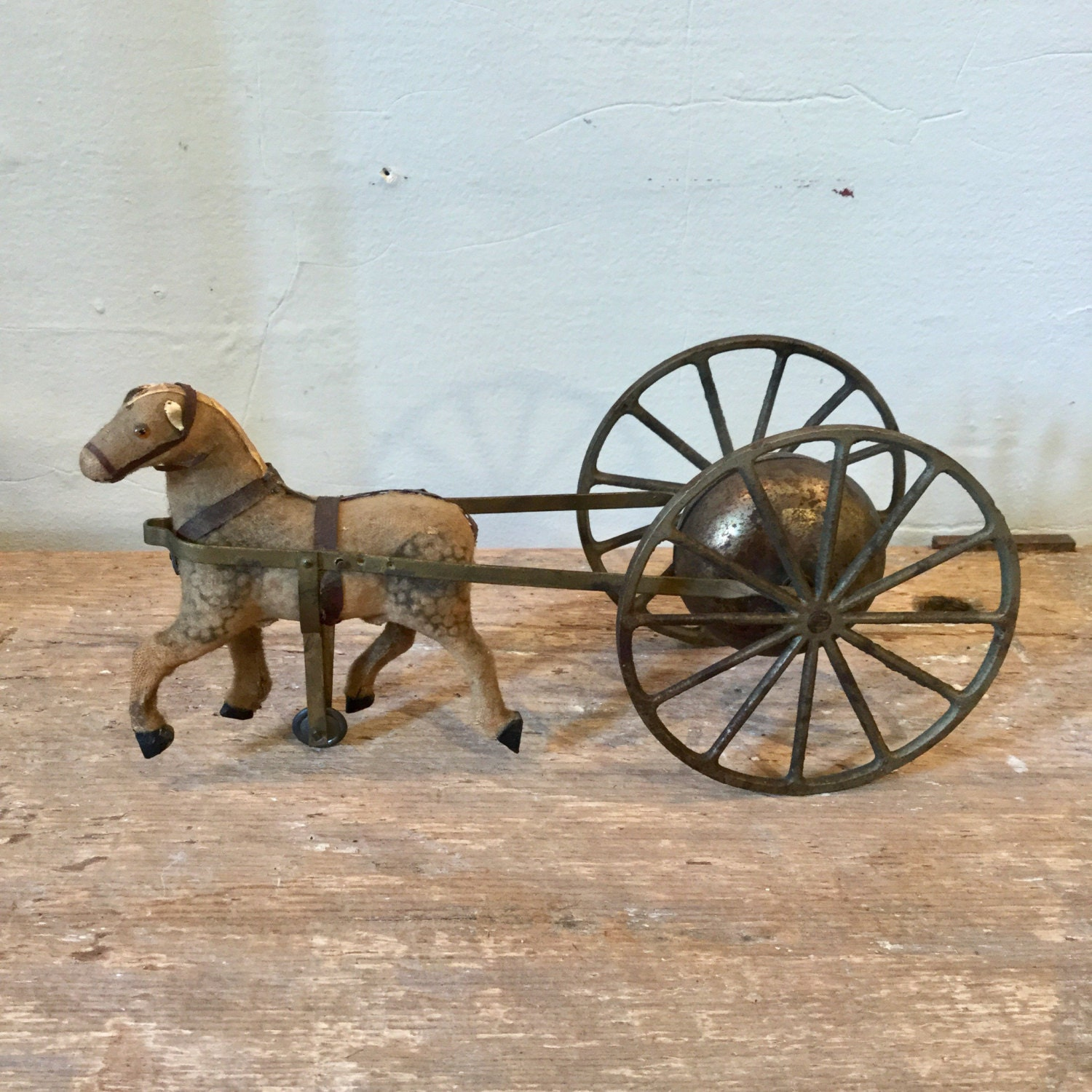 Antique pull toy horse cast iron bell ca