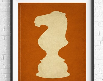 Chess Art, Knight Chess Piece Print, Board Game Art, Game Room Wall Art, Game Room Art, Game Room Decor, Nerd Gift, Geek Gift, Gifts for Dad
