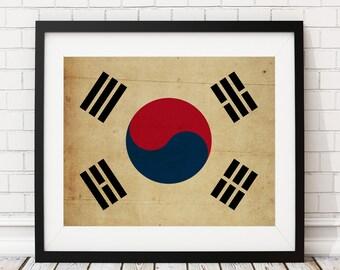 South Korea Flag Art, South Korea Flag Print, Flag Poster, Country Flags, Flag Painting, Seoul South Korea, Korean Art, Korean Gifts,