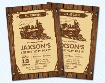 Digital Printable Train Birthday Invitation. Boy birthday. vintage train invite