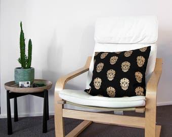 Skull Gold Cushion Cover