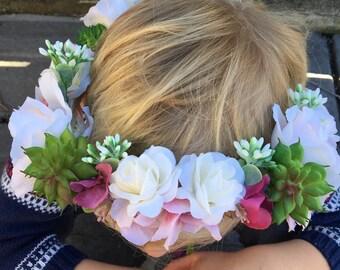 Hawaiian Flower Crown, Succulent Flower Crown, Island Wedding Crown, Boho Flower Girl, Orchid Flower Crown, Wedding Halo, Hawaiian Head Wrea