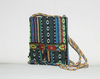Ethnic bag, fringe bag, shoulder bag, hippie bag, colorful bag, small bag, bag with flowers, small shopper,