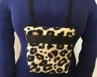 Sugar Glider Bonding Pouch, baby hedgehog bonding bag, small exotic nesting supplies, zipper bag, snuggle sack, Cream Cougar Fleece