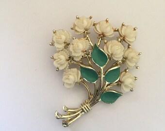 Vintage Signed Celluloid Flower Bouquet Brooch, cream white Roses, Green Enamel Leaves, JJ pin