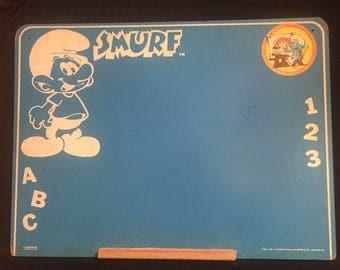 Vintage 80s smurf chalkboard smurfy blue 1980s cartoon memorabilia