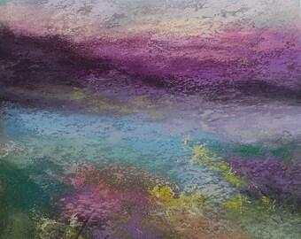 Original pastel painting Violet Skies