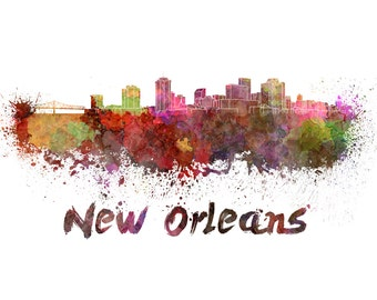 New Orleans skyline watercolor canvas, New Orleans Canvas Print, New Orleans wall art, Canvas Wall Art, Watercolor Skyline, Gift Ideas