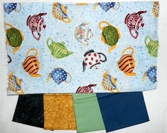 Tea Pot Fabric Bundle - 1/2yd Tea Pots + (4) fat quarters (green/blue/gold/black fusion illusion/ladybugs/dots) (#O159)