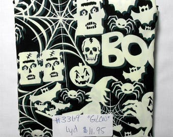 Fabric -1yd piece- GLOW-in-the-DARK Halloween fabric/Frankenstein, skeleton, spider, witch,Boo (#3369) Timeless Treasures fun-cg3540