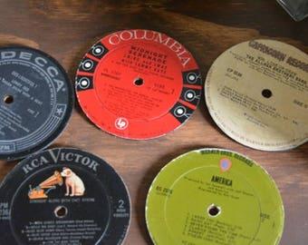 5 Vinyl Record Coasters