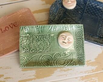 Pottery Love Moon Tray/Handmade Trinket Dish/Full Moon Tray/Moon Jewelry Tray/Boho Small Dish/Mint Pottery Moon Tray/Small Pottery Moon Dish