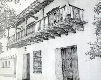 Original pencil drawing, balcony drawing, photorealism, graphite pencil drawing, colonial architecture drawing, Balcon Ustariz