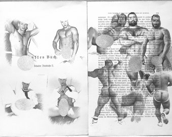 Erotic Gay poster 2 pages / sailor muscular mens / Printing Antique  German book  decor interior picture ART erotic