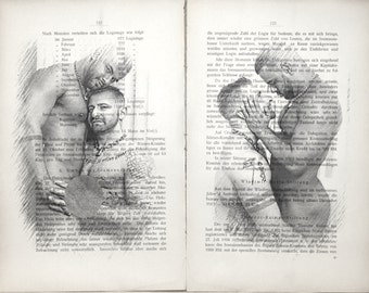 Erotic Gay poster  / Muscle mens love / nude muscular mens  /  Printing Antique  book  decor interior picture ART erotic souvenir