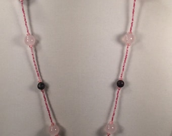 Single Strand Necklace with Pink and Purple Beads
