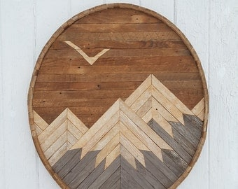 Reclaimed Wood Wall Art, Mountain Range with Eagle, Decor, Barn Wood, Lath Art, Shabby chic, Geometric,  Rustic, Mosaic Art