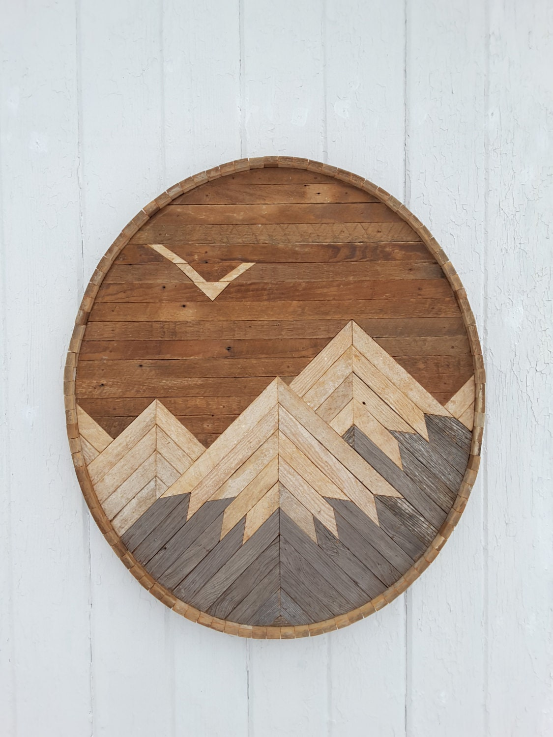 Reclaimed Wood Wall Art Mountain Range With Eagle Decor