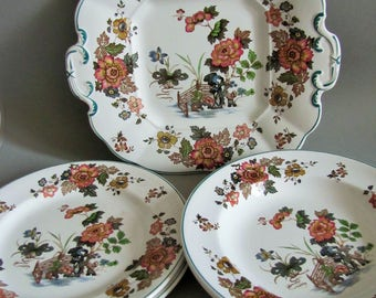 Wedgwood Etruria and Barlaston Eastern Flower Pattern - Cake Plate, Bowls, Dessert plates - 5 Pieces