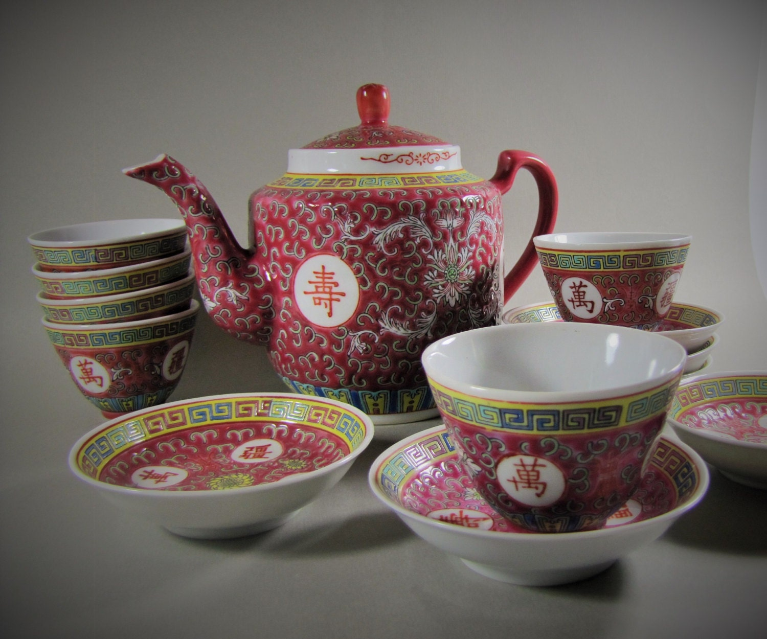 Chinese Famille Rose Tea Set X Teapot Six Cups Six Bowls In