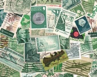 40 Green Vintage Postage Stamps
