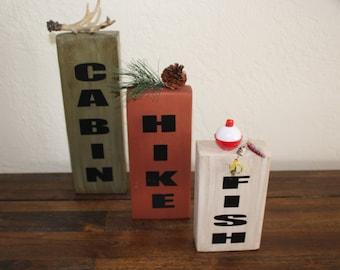 Fish-Hike-Cabin Wood Blocks, Cabin decor, Cabin, Hike, Fish, Decor, Home Decor