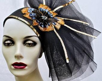 Vintage Mr. Hi's Women's Black Parasisal Straw Floral Hat/ Women's Sequined Floral Hat/1980s Vintage Straw Hat/Women's Vintage 1980s Hat