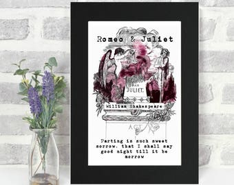 Romeo And Juliet Print - Shakespeare Quote - Literary Gift