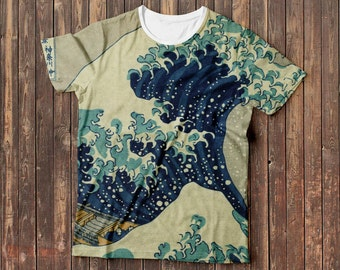 The Great Wave off Kanagawa Katsushika Hokusai painting t-shirt, full print, free shipping
