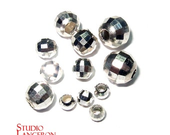 925 Sterling Silver Beads - Disco cut - Spacer Beads - Disco Ball Spacer Bead 3 - 6 mm - 1 piece