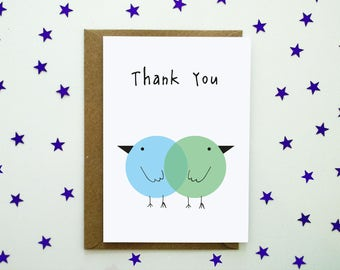 Thank you card - two cute blue and green birds!