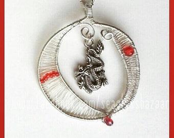Wirewrapped Dragon Pendant Silver Plated Freestyle Necklace
