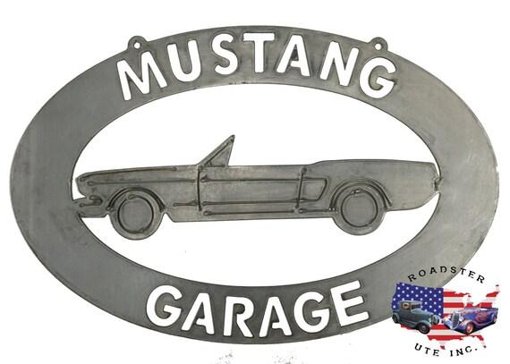 Ford Mustang Convertible Garage - Plasma Cut Metal Shop Sign