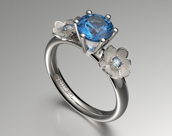 Nature Classic 14K White Gold 1.0 Ct Blue Topaz Diamond Floral Engagement Ring  G1102-14KWGDBT
