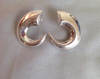 Sterling Modernist Earrings, Vintage Sterling Silver Earrings, Vintage Sterling Modernist Earrings Stamped NF .925